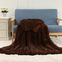 Бамбуковый плюшевый плед-покрывало травка Турция шоколад 150*200