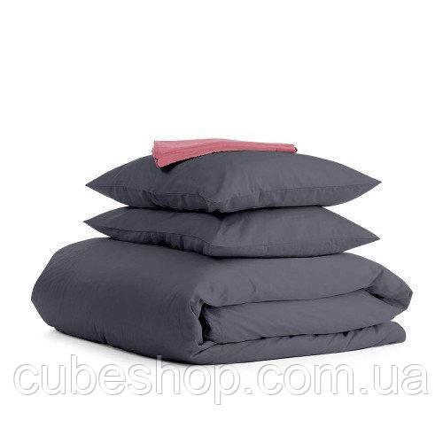 Комплект полуторного постельного белья GREY PUDRA-S (хлопок, сатин)