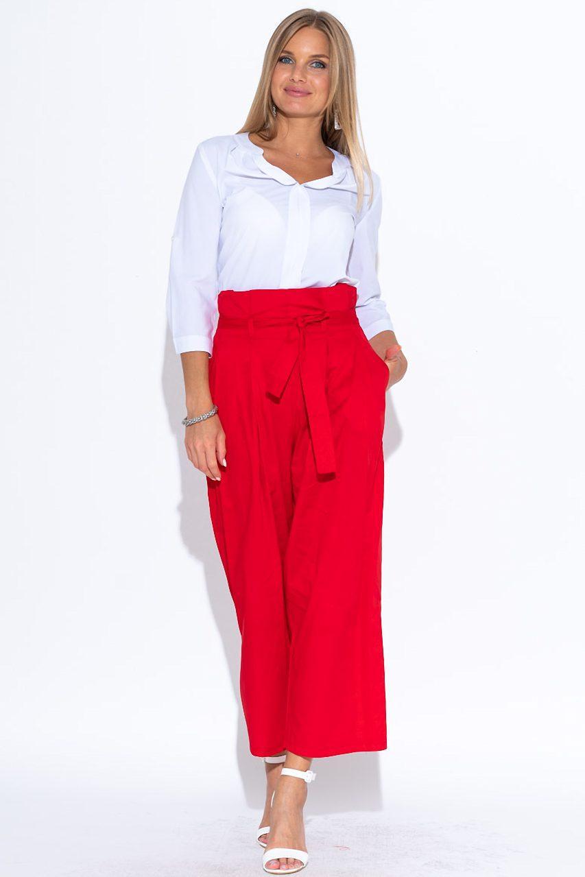 Укороченные брюки красного цвета. Размеры 42-48