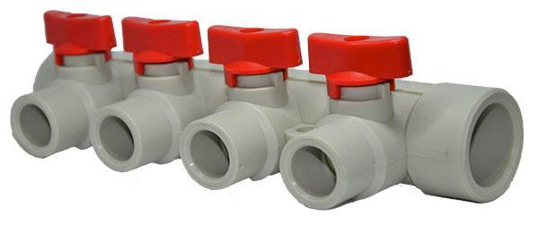 Полипропиленовый коллектор для подключения 4-х контуров отопления