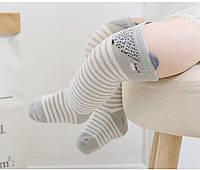 Гольфы детские серые с белой полоской антискользящие подошвы