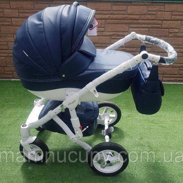 Универсальная коляска 2 в 1 Adamex Barletta 100% (кожа) karbon 50S
