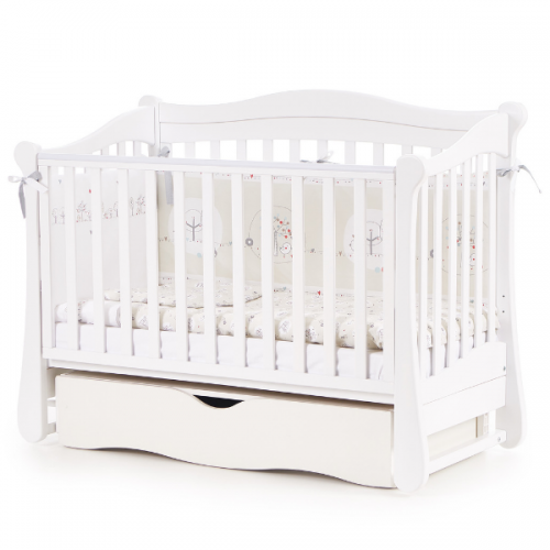 Детская кроватка Соня ЛД18 с маятником и ящиком Белый