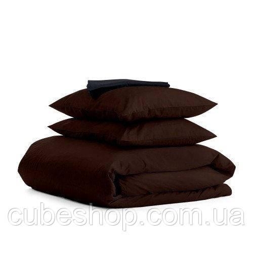 Комплект полуторного постельного белья CHOCOLATE BLACK-S (хлопок, сатин)