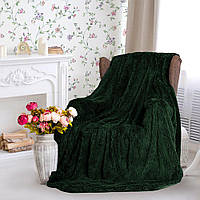 Очень пушистый бамбуковый плед-покрывало травка Турция 150*200 Темно-зеленое
