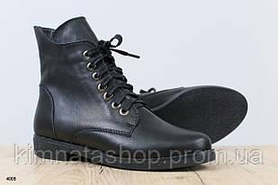 Ботинки женские кожаные черные by Vinata,на низком ходу, весна/осень, размер 36-41