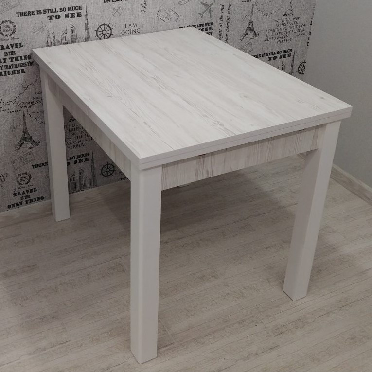 Стол Марсель 90 белый/Аляска 90(+35+35)х70