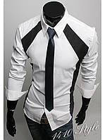 """Рубашка мужская модная """"Boss"""",белый и чёрный."""