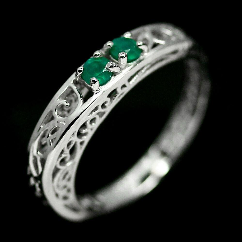 Серебряное кольцо с зеленым агатом, 1963КЦА