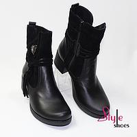 Ботинки женские с замшевой отделкой, фото 1
