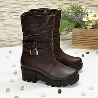 Ботинки женские кожаные демисезонные на утолщенной подошве, цвет коричневый