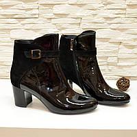 Ботинки комбинированные демисезонные на невысоком каблуке, цвет черный