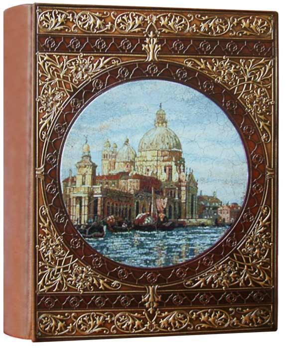 """Фотоальбом шкіряній палітурці з художнім тисненням і ручним розписом на шкірі """"Венеція"""""""