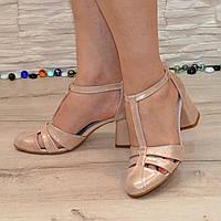 Босоножки женские кожаные на устойчивом каблуке, цвет розовый