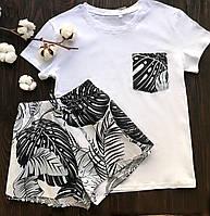 Пижама футболка и шорты L-XL листья черный