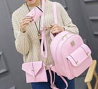 Женский набор 3 в 1 рюкзак, сумка и визитница из эко-кожи Honey set, 3 цвета розовый