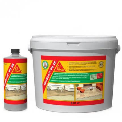 Двухкомпонентный жестко-эластичный полиуретановый клей для напольных покрытий SikaBond-PU 2K (А+B) 8,9 кг., фото 2