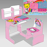 """Гр Парта шкільна """"KITTY"""" ЛДСП ПШ 014 (1) 69*45 см.,  рожева, + 1 стілець"""
