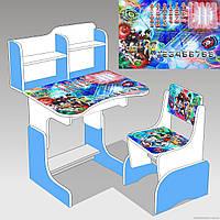 """Гр Парта шкільна """"Библэйд ЛДСП ПШ 037 (1) 69*45 см.,  біло-голуба, + 1 стілець"""