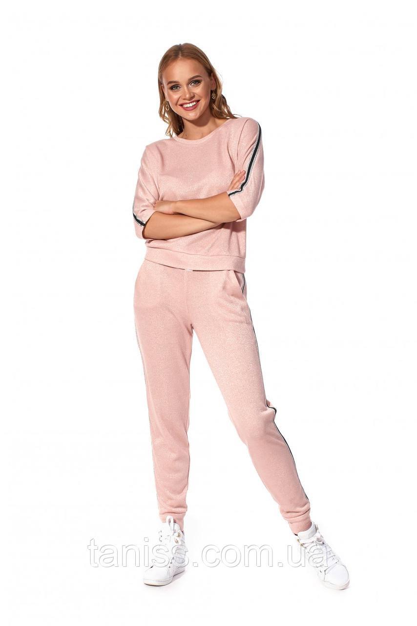 Стильный, молодежный , спортивный костюм, ткань трикотаж петля, размеры 42-44,46-48 (682.3) розовый