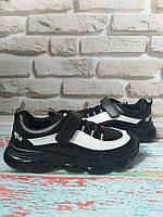 Детские кроссовки кожаные Apawwa черно-белые