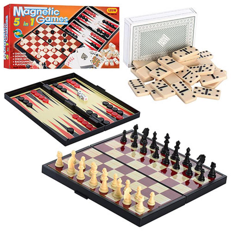 Игровой набор шахматы, шашки, нарды, карты, домино 9841А