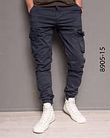 Мужские штаны карго, на резинке, с карманами