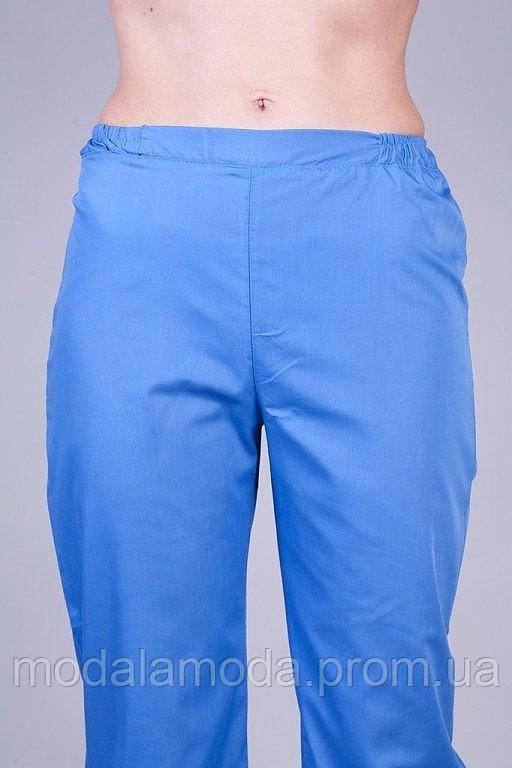Медицинские штаны однотонные с светло-синим из батиста