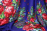 Южная ночь 148-13, павлопосадский платок шерстяной с шерстяной бахромой, фото 5