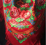 Матрешка 190-5, павлопосадский платок шерстяной с шерстяной бахромой, фото 3