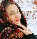 Галина 258-18, павлопосадский платок (шаль) из уплотненной шерсти с шелковой вязанной бахромой, фото 10