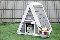 "Деревянная будка ""ВигВам"" для кошки"