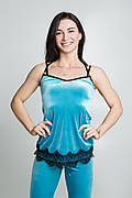 ENSOUL Майка 72492801 Инжи (42-44-46, голубой, черный, с гипюром, велюр)