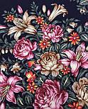 Донские зори 1801-8, павлопосадский платок шерстяной (двуниточная шерсть) с шелковой вязаной бахромой, фото 3