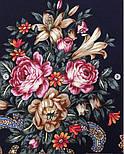Донские зори 1801-8, павлопосадский платок шерстяной (двуниточная шерсть) с шелковой вязаной бахромой, фото 5