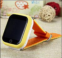 Детские часы-телефон Q100-S (Q750) с GPS, прослушка, магнитная зарядка, GPS+LBS+Wi-Fi. Жёлтые.
