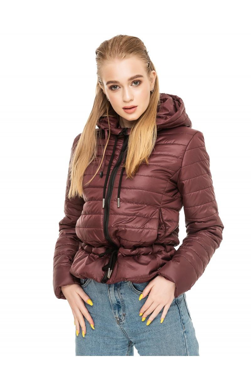 Укороченная куртка осень-весна Рамина бордовый (44-54)