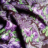 Сиреневый вечер 1832-17, павлопосадский платок шерстяной  с оверлоком, фото 5