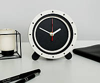 Круглые часы Часы бело черные Белые стрелки Стильные часы Настольные часы Настоящие деревянные часы Размер 15