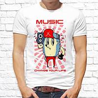 """Мужская футболка Push IT с принтом Ёжик """"Music"""""""