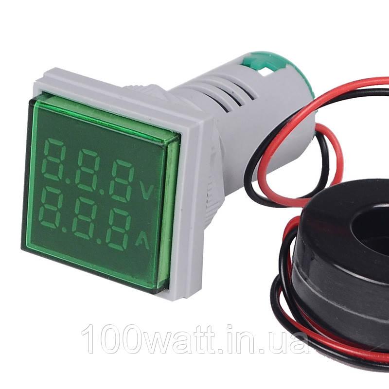 Вольтметр - амперметр цифровой переменного тока квадратный зеленыйиндикатор ST 914G
