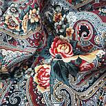Осенние колокола 1845-6, павлопосадский платок (шаль) из уплотненной шерсти с шелковой вязаной бахромой, фото 4