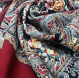 Осенние колокола 1845-6, павлопосадский платок (шаль) из уплотненной шерсти с шелковой вязаной бахромой, фото 6