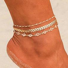 Браслет на ногу многослойный декорированный (золотистый), фото 2