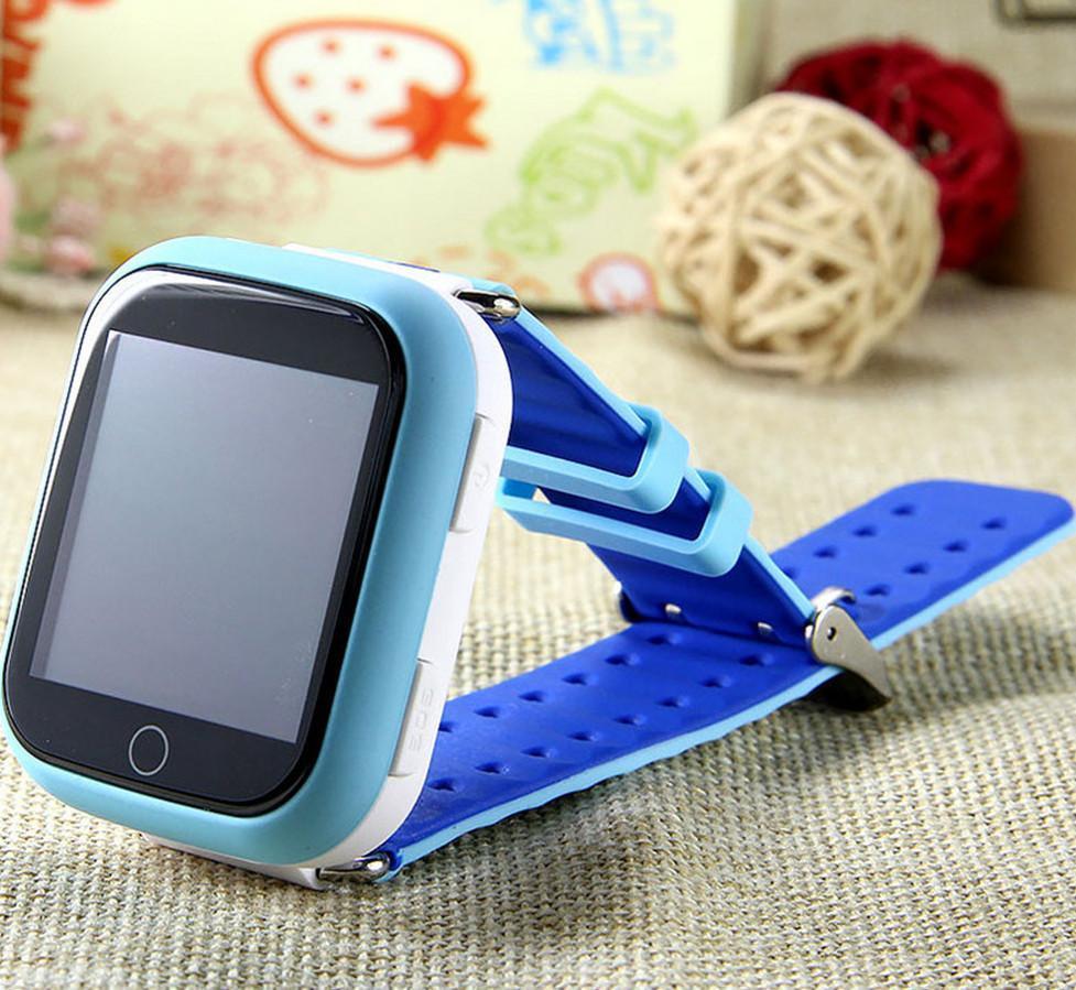 Детские часы-телефон Q100-S (Q750) с GPS, прослушка, магнитная зарядка, GPS+LBS+Wi-Fi. Голубые