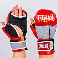 Перчатки гибридные для единоборств ММА кожаные ELAST (р-р 10-12oz, красный)