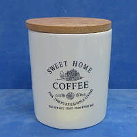 """Банка для кофе """"Глазурь"""" с бамбуковой крышкой 900мл 11.5*11.5*14см"""