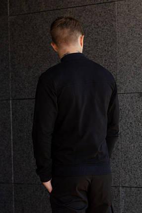 Бомбер трикотажный  -  черный, фото 2