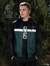 """Ветровки """"Casual 80"""" черная-темно зеленая, фото 3"""