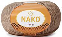 Пряжа Nako Peru 257 кофе с молоком (нитки для вязания Нако Перу) 25% альпака, 25% шерсть, 50% акрил